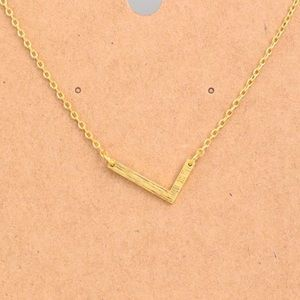 "Jewelry - Letter ""L"" Sideways Initial Gold Chain Necklace"